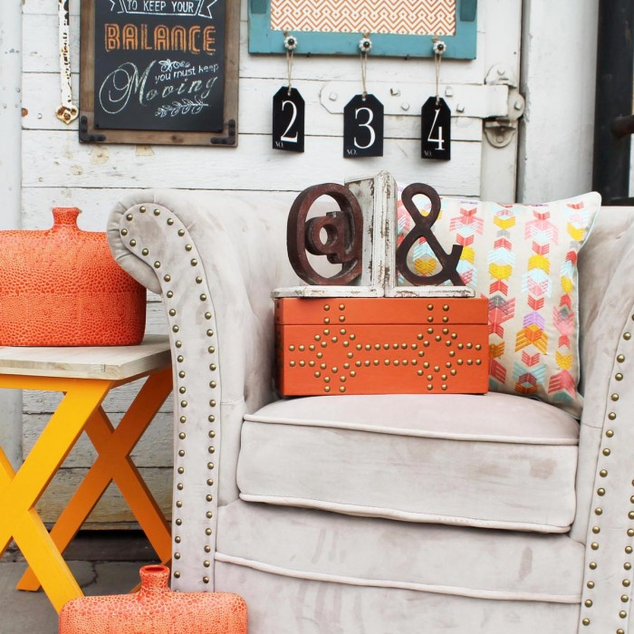 Gray Chair with Orange Accents